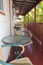 All of our motel units have shaded seating areas with table and chairs located out the front of the unit